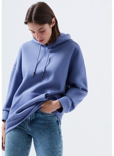 Mavi Kapüşonlu Mor Sweatshirt Mor